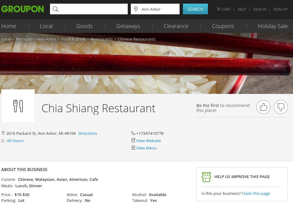 Chia Shiang restaurant